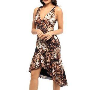 Xscape 10 Black Tan Animal Print Dress NWT CK52